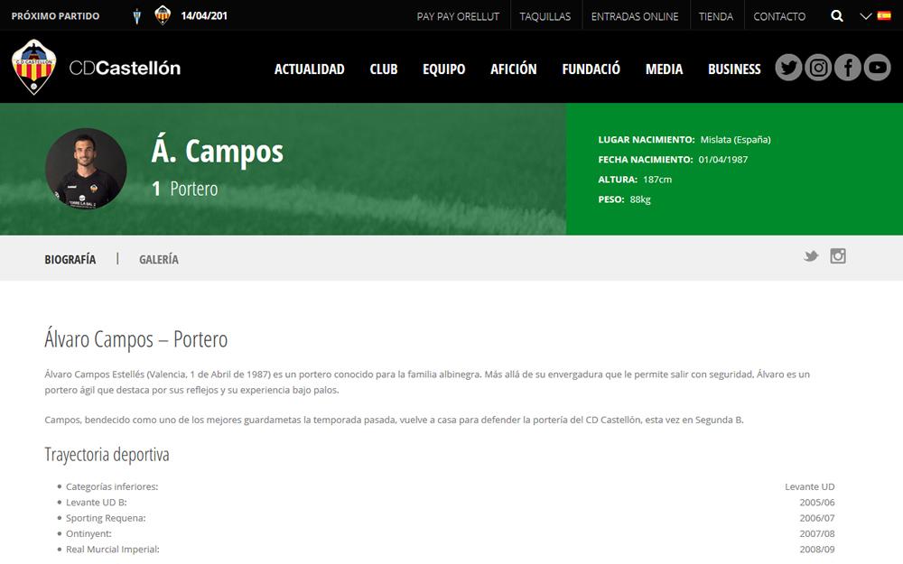 Diseño página web - CD Castellón